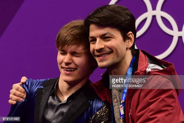 Latvia's Deniss Vasiljevs reacts after competing in the men's single skating free skating of the figure skating event during the Pyeongchang 2018...