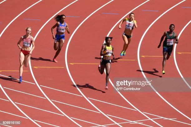 Latvia's Gunta LatievaCudare Cuba's Roxana Gómez Jamaica's Shericka Jackson Germany's Ruth Sophia Spelmeyer and Zambia's Kabange Mupopo compete in...