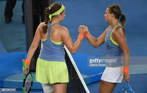 Latvia's Jelena Ostapenko congratulates Estonia's Anett Kontaveit after their women's singles third round match on day five of the Australian Open...