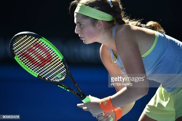 Latvia's Jelena Ostapenko prepares to play a point against China's Duan YingYing during their women's singles second round match on day three of the...