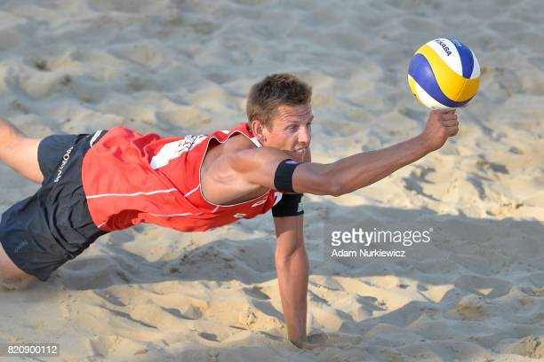 Latvia's Martins Plavins digs for the ball while men's semifinal during FIVB Grand Tour Olsztyn Day 4 on July 22 2017 in Olsztyn Poland
