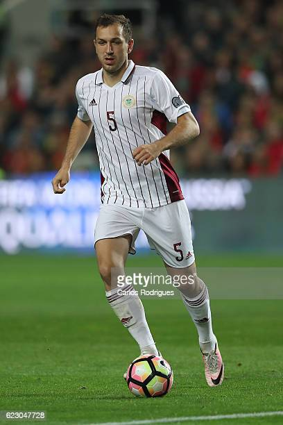 Latvia's midfielder Oleg Laizane from Latvia during the Portugal v Latvia FIFA 2018 World Cup Qualifier match at Estadio do Algarve on November 13...