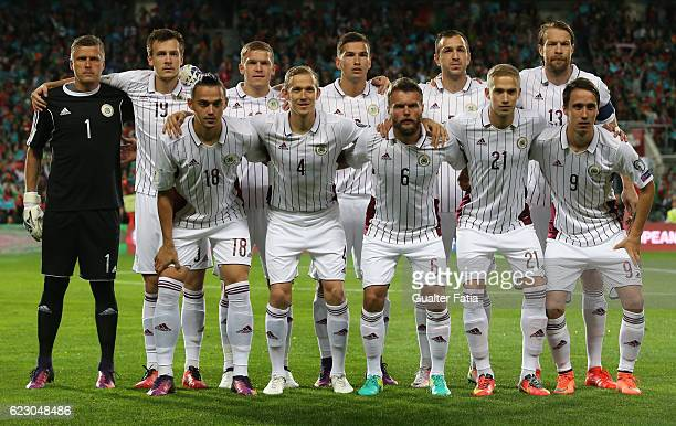 Latvia's players pose for a team photo before the start of the FIFA 2018 World Cup Qualifier match between Portugal and Latvia at Estadio Algarve on...
