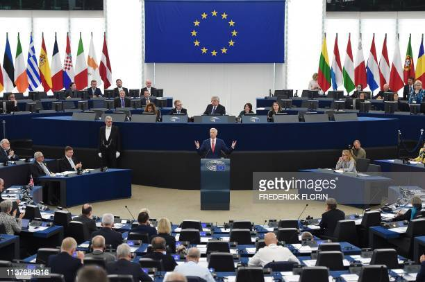 Latvia's Prime Minister Krisjanis Karins speaks during a debate on the future of Europe during a plenary session at the European Parliament on April...