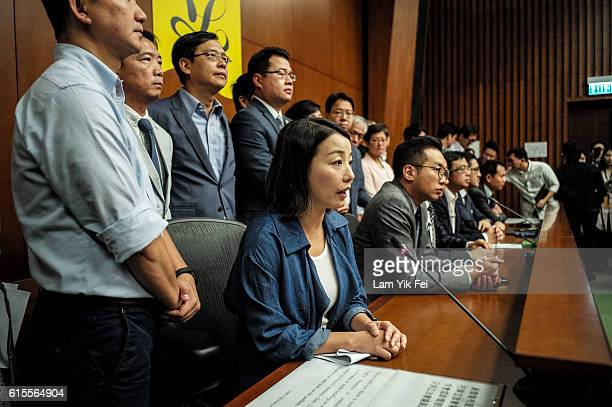 Lau Siulai an incoming Legislative Council member center speaks with the media during a press conference on October 19 2016 in Hong Kong Hong Kong...