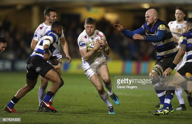 Lauchie Turner of Exeter runs with the ball during the Aviva Premiership match between Bath Rugby and Exeter Chiefs at the Recreation Ground on March...