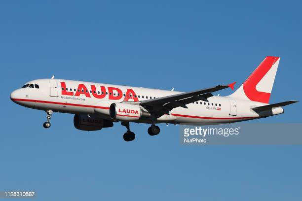 Lauda Motion Airbus A320200 aircraft with registration OELOA landing at Düsseldorf International Airport DUS EDDL on February 27 2019 just 2 days...