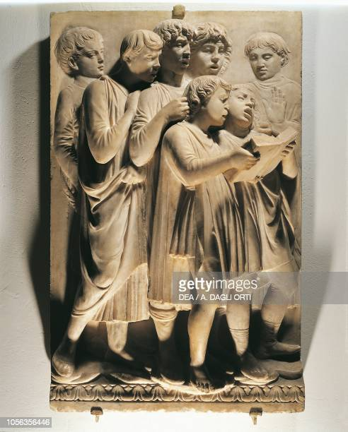 Laudate Eum in choro panel with singing children 14311438 marble basrelief detail of the Cantoria by Luca della Robbia Cathedral of Santa Maria del...