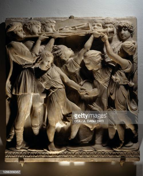Laudate Eum in sono tubae panel with trumpet players and dancing children 14311438 marble basrelief detail of the Cantoria by Luca della Robbia...