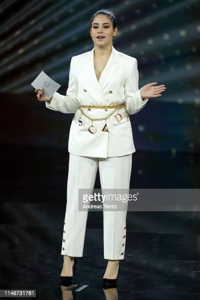 Laudator Almila Bagriacik speaks on stage during the Lola German Film Award show at Palais am Funkturm on May 03 2019 in Berlin Germany