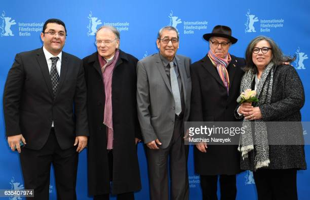 Laudatory speaker Klaus Eder Samir Farid and festival director Dieter Kosslick pose for a picture at the 'Berlinale Camera' award during the 67th...