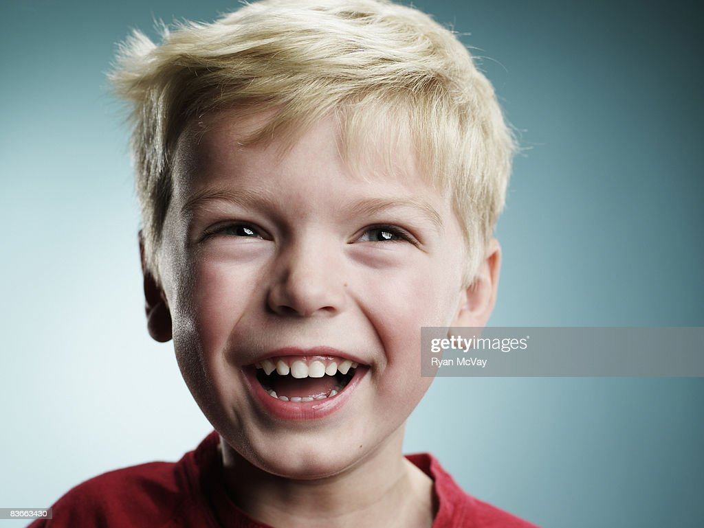 Laughing 4 year old boy : Stock Photo