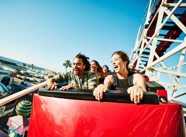 Laughing Screaming Couple Riding Roller - Fine Art prints