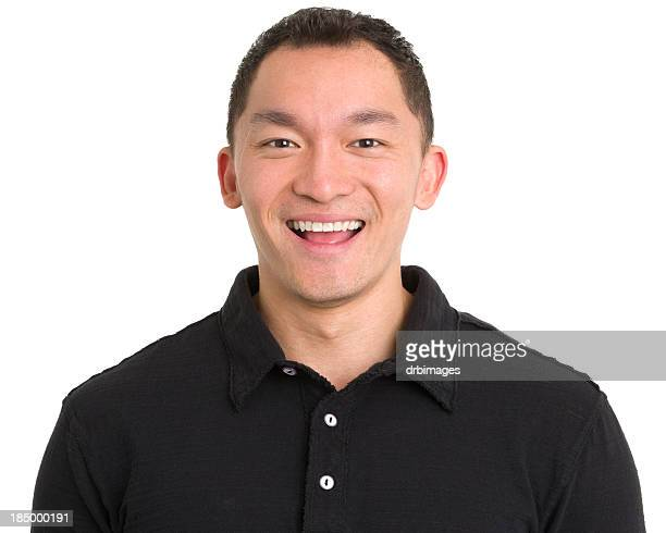 laughing asian man headshot - polo shirt stock pictures, royalty-free photos & images