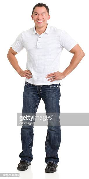 laughing asian man with hands on hips - polo shirt stock pictures, royalty-free photos & images