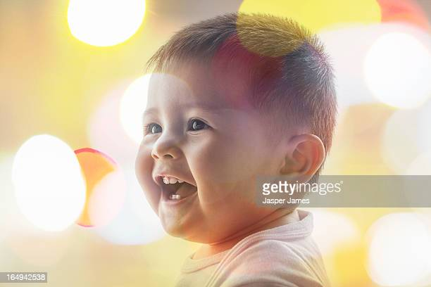 laughing baby and lights