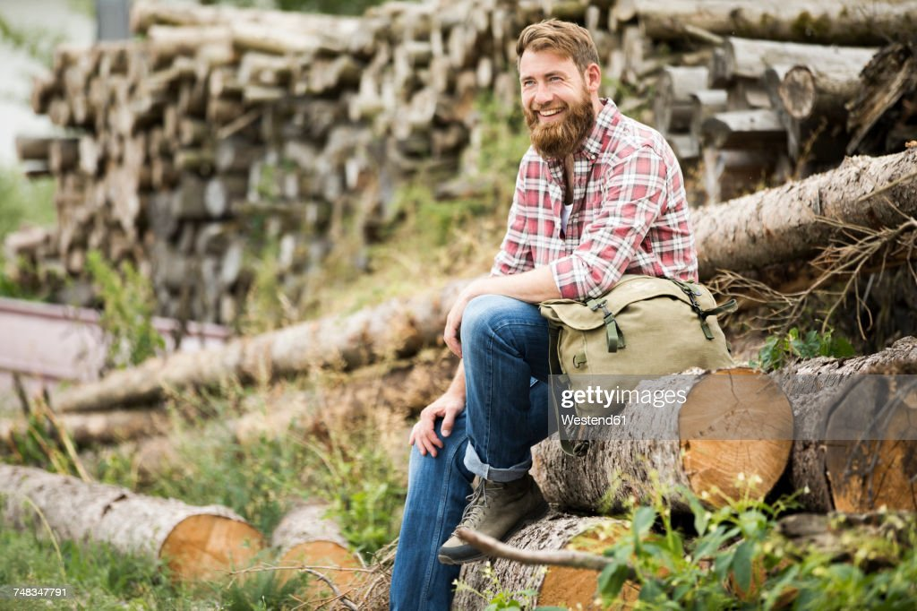 Laughing bearded man sitting on stack of wood : Stock-Foto
