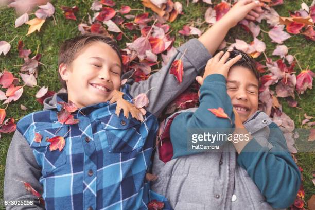 Rire des frères jouant à l'automne les feuilles