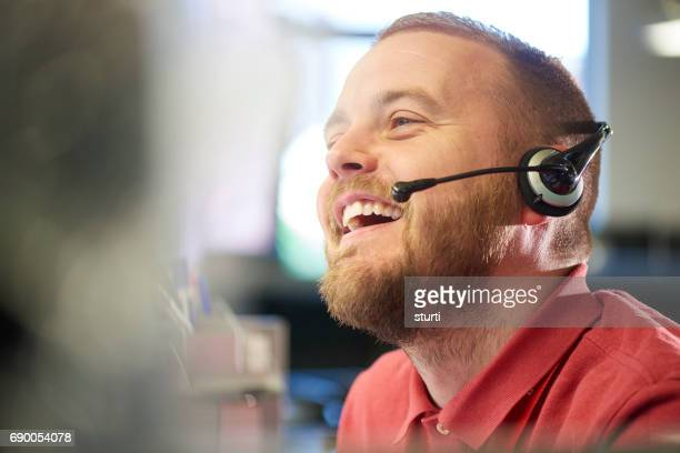 laughing customer service representative
