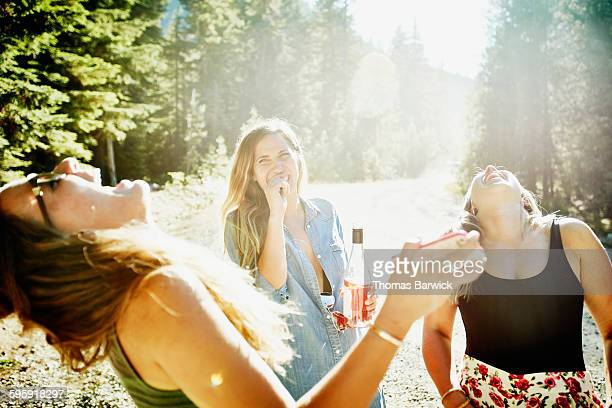 laughing friends on summer vacation together - drunk woman stock pictures, royalty-free photos & images