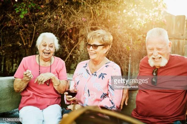 laughing grandmother hanging out with family during backyard barbecue - cor de vinho imagens e fotografias de stock