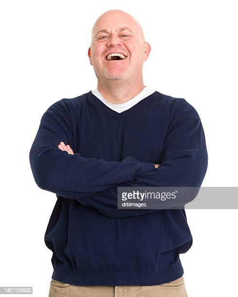 laughing mature man - fat bald men stock pictures, royalty-free photos & images
