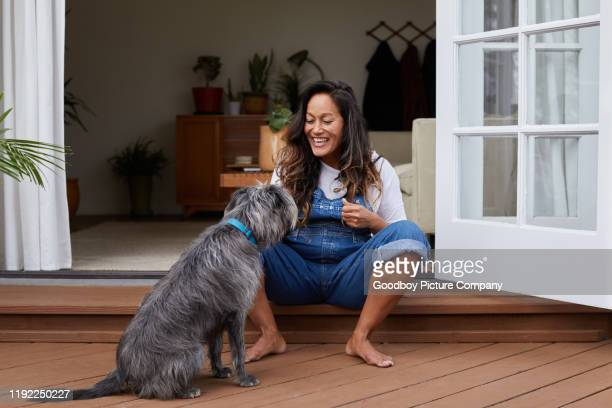 laughing mature woman sitting on her patio playing with her dog - decking stock pictures, royalty-free photos & images
