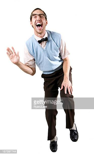 laughing nerd guy on white background - slapping stock pictures, royalty-free photos & images