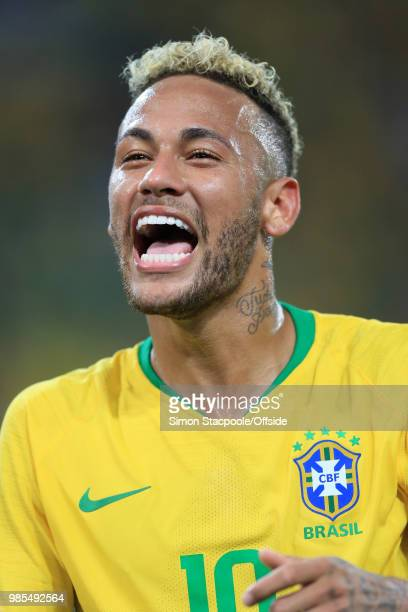 Laughing Neymar of Brazil during the 2018 FIFA World Cup Russia Group E match between Serbia and Brazil at Spartak Stadium on June 27, 2018 in...