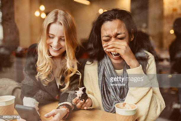 laughing out loud - female friendship stock pictures, royalty-free photos & images