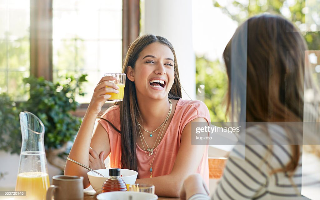Ridendo la prima colazione : Foto stock