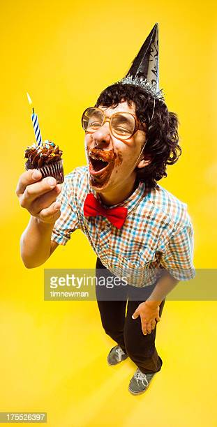 Laughing Party Nerd Teen Boy Holding Cupcake Frosting Facial Desaster
