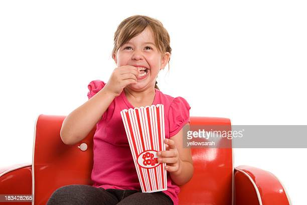 Rire fille pop-corn
