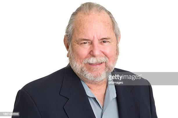 laughing senior man - fat man beard stock photos and pictures