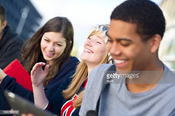 laughing teens