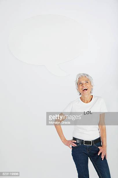 Laughing woman with 'LOL' t-shirt