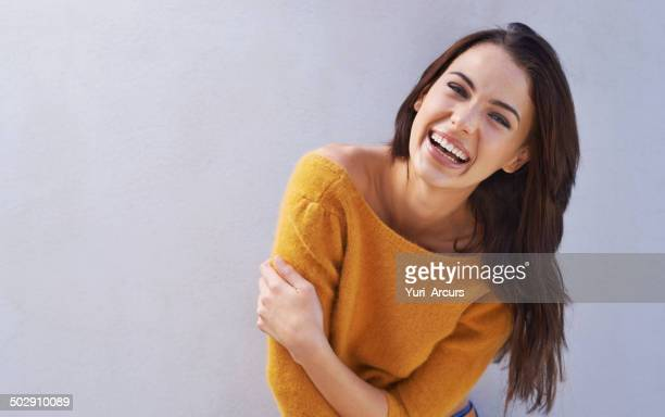 laughs are fun - beautiful woman stockfoto's en -beelden