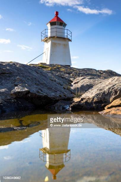 laukvik lighthouse - spiegelung stock pictures, royalty-free photos & images