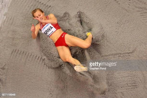 Lauma Griva of Latvia competes in the Women's Long Jump Final during the IAAF World Indoor Championships on Day Four at Arena Birmingham on March 4...