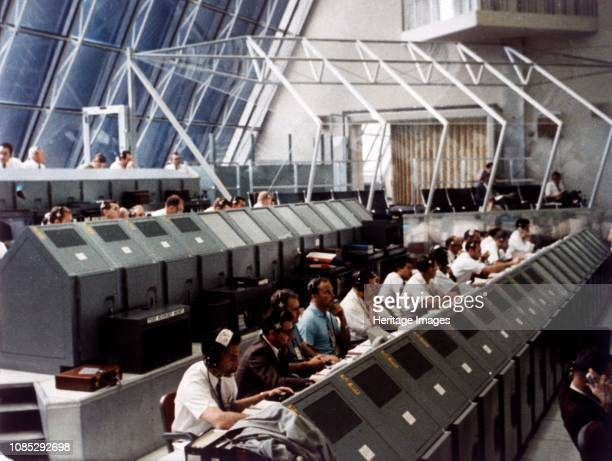 Launch Control Center in the John F Kennedy Space Center Merritt Island Florida USA July 1969 Apollo 11 was launched by a Saturn V rocket from...