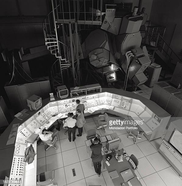 Launch control center of Apollo 11 the first mission fulfilling the human being's goal of reaching the moon