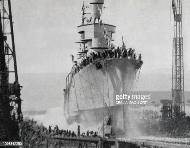 Launch of cruiser Alberto da Giussano March 27 Genoa Italy 20th century