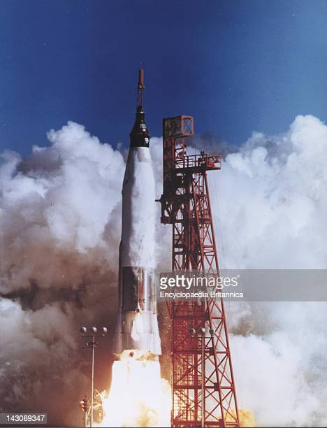 Launch Of Friendship 7 Launch Of The Mercury Spacecraft Friendship 7 Carrying US Astronaut John H Glenn Jr On Feb 1962 Riding Into Space Atop A...