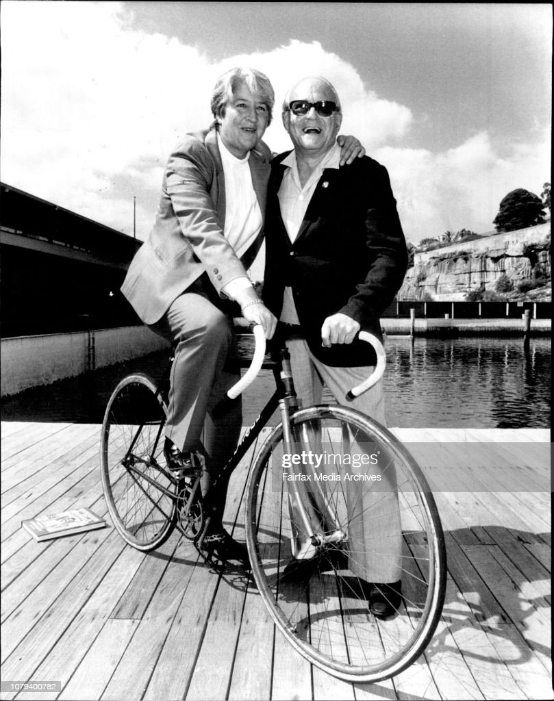 "Launch of Gary Lester's book, Australians at the Olympic, held at the Dawn Fraser Pool, Balmain.Dawn Fraser and E.L. ""Dunc"" Gray, the oldest living gold medalist, who won his gold medal for cycling in the 1932 Los Angeles games. Dawn is riding Mr Gray's b : News Photo"
