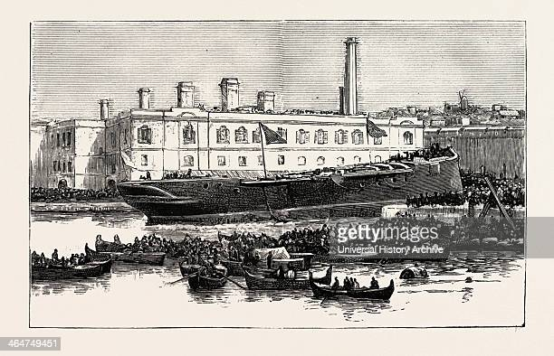 Launch Of Hms Melita At Malta The First Ironclad Launched From The Malta Dockyard 1888 Engraving