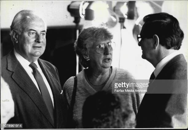Launch of Sir Sidney Nolan biography at the Art Gallery by Gough Whitlam Left Margaret Whitlam also seen Bill Collins Right April 22 1987