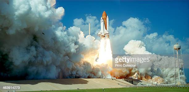 Launch of Space Shuttle Challenger from Kennedy Space Center Florida USA 1985 The Space Shuttle the world's first partially reusable launch vehicle...