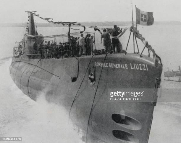 Launch of submarine Consul General Liuzzi , September 17 Taranto, Italy, 20th century.
