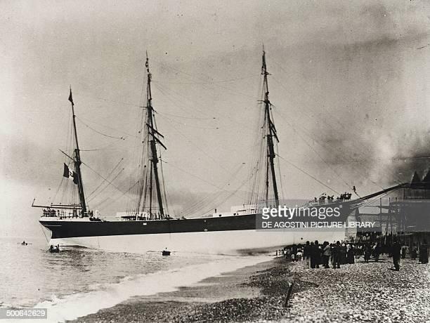 Launch of the barque Garibaldi at the Ansaldo shipyard in Sestri Ponente 1890 Italy 19th century Genoa Archivio Di Stato