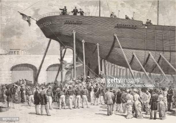 Launch of the battle cruiser Flavio Gioia in Castellammare di Stabia Campania Italy drawing by Edoardo Matania engraving from L'Illustrazione...